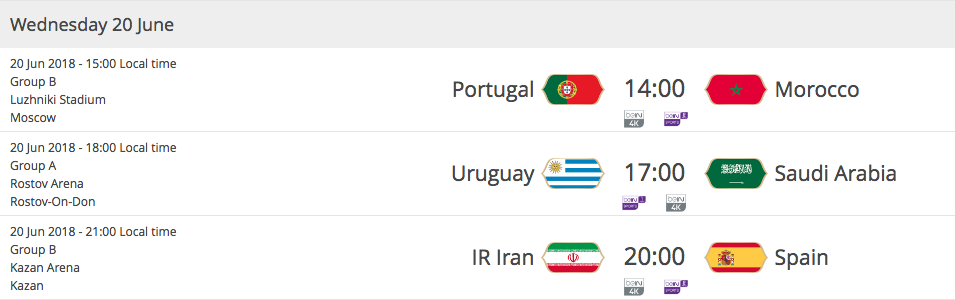 2018 FIFA WORLD CUP RUSSIA - Matches Wednesday 20th of June 2018