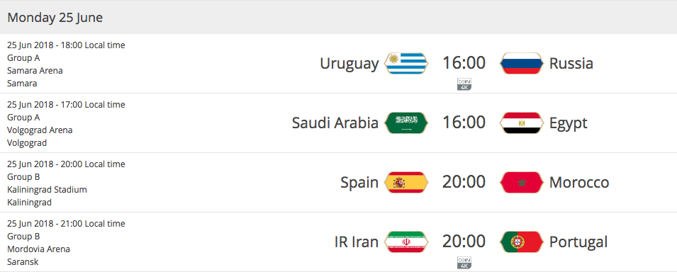 2018 FIFA WORLD CUP RUSSIA - Matches Monday 25th of June 2018