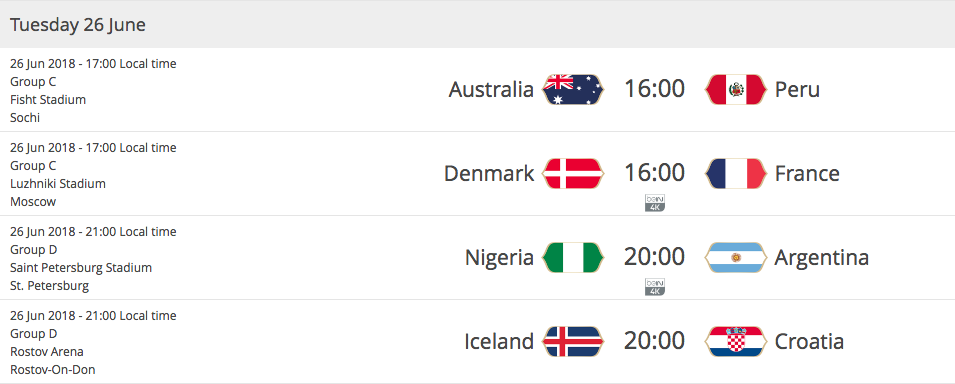 2018 FIFA WORLD CUP RUSSIA - Matches Tuesday 26th of June 2018