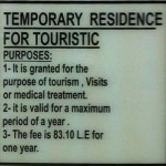 Temporary Residence for Touristic Purposes
