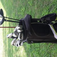 For sale:set of English golf clubs with bag &some balls +pins