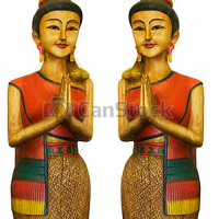 2 Thai welcoming girl sawasdee wood sculpture wall mounted 150cm height